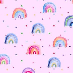 Rainbow baby dreams on pink || watercolor brush stroke pattern for baby girl's nursery