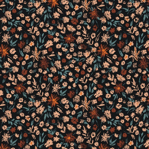 Hand-painted floral pattern in orange, teal, peach on black background