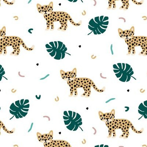Dots and cats botanical jungle baby tiger wild cat panther yellow green