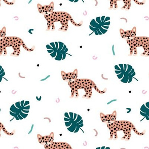 Dots and cats botanical night jungle baby tiger wild cat panther pink green