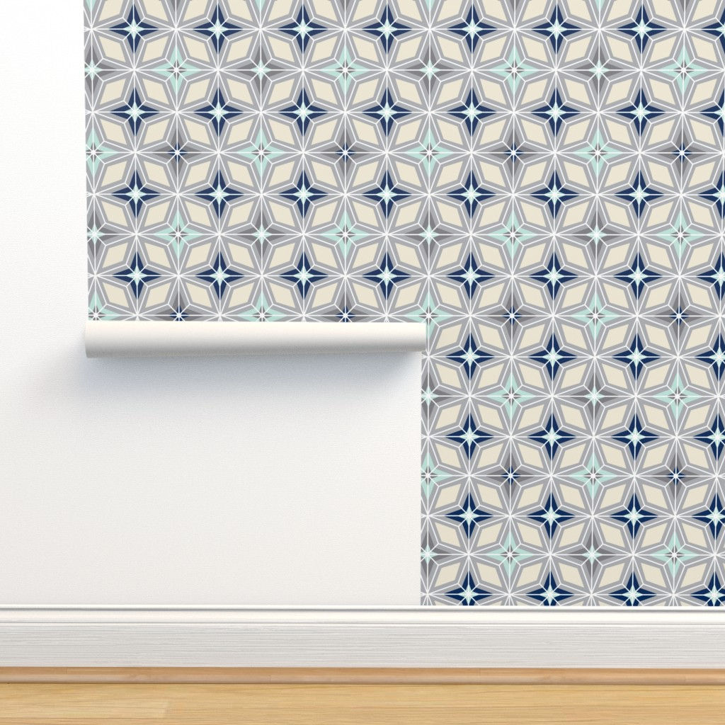Isobar Durable Wallpaper featuring Nordic Star - Grey Mint Navy Cream  by heatherdutton
