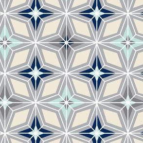 Nordic Star - Mid Century Modern Geometric - Grey Mint Navy Cream Regular Scale