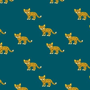 Dots and cats baby tiger wild cat panther winter blue yellow