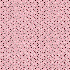 Watercolor circles and hearts on pink
