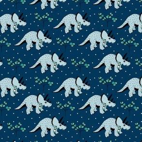 Christmas winter season dinosaurs design cute snow night baby dino print for kids blue SMALL
