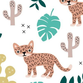Kids colorful jaguar wildcat jungle botanical leaves cactus and monstera tiger animals boys LARGE
