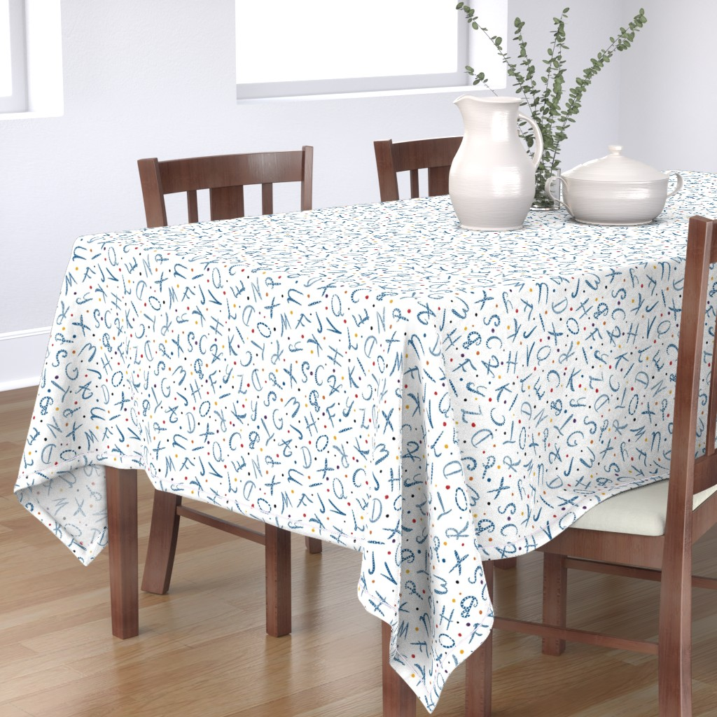 Bantam Rectangular Tablecloth featuring Blue hand-drawn alphabet letters with dots on white by lolahstudio