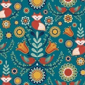 Birdies and foxes - Scandinavian teal