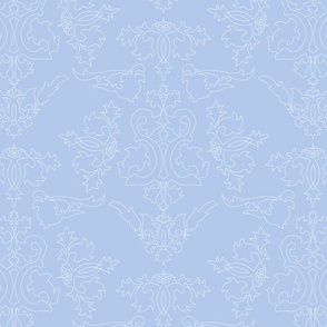 """12"""" Sweet summer blue vintage damask, damask fabric, english blue country, blue and white fabric"""