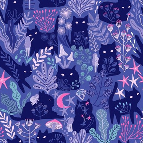 Cute cats and girl. violet forest with plants, berries and flowers