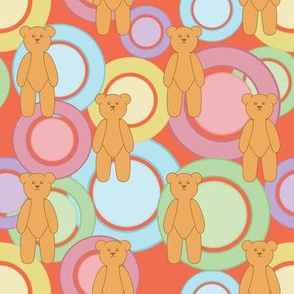 Circles Of Teddy Bears (Peach)