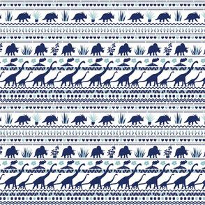 Folk Dino Navy & Light Blue on White