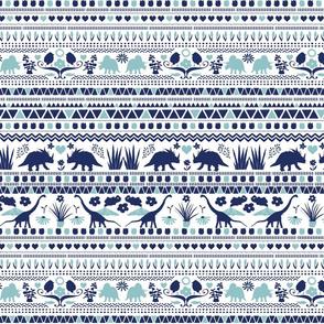 Folk Dino Light Navy & Light Blue on White