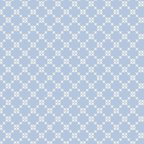 Summer Flight Trellis: Chambray Blue Cross Stitch Latticework