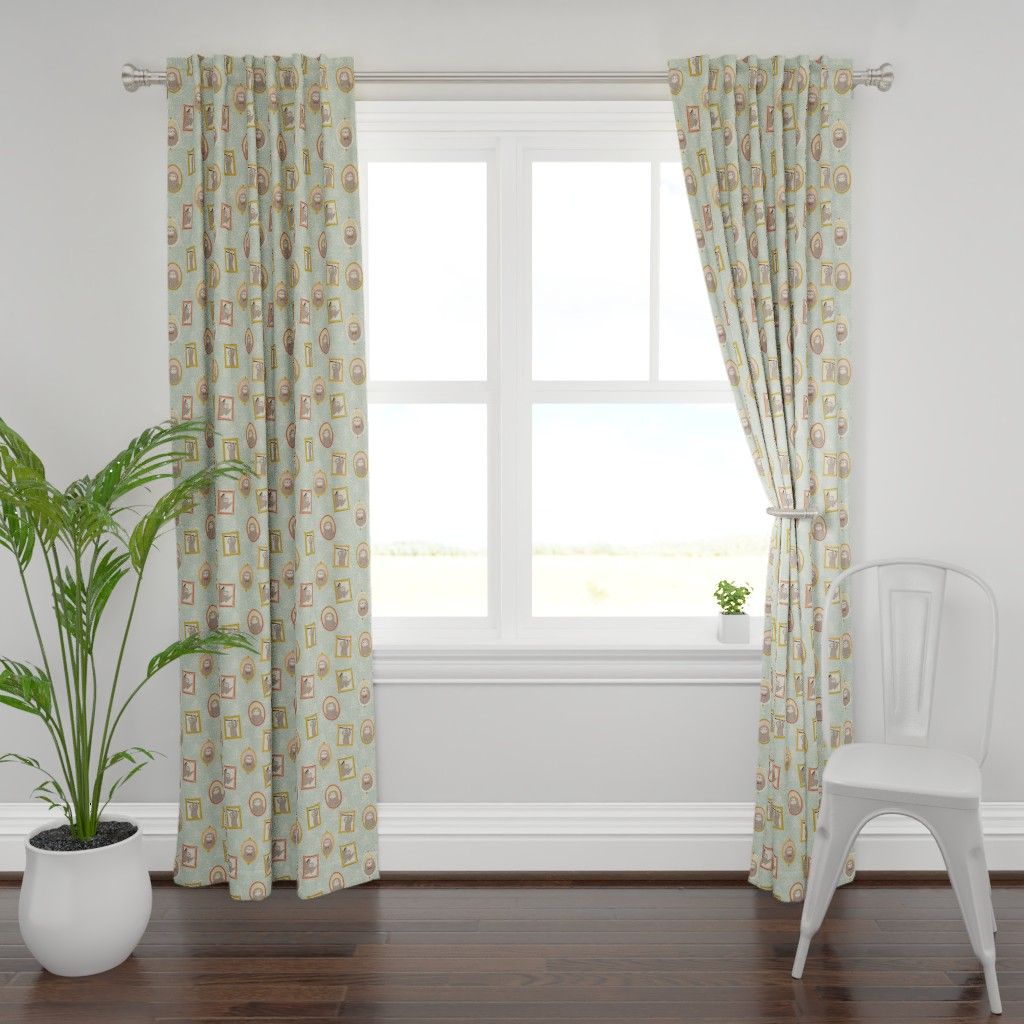 Plymouth Curtain Panel featuring Sloth Family Portraits by arthousewife