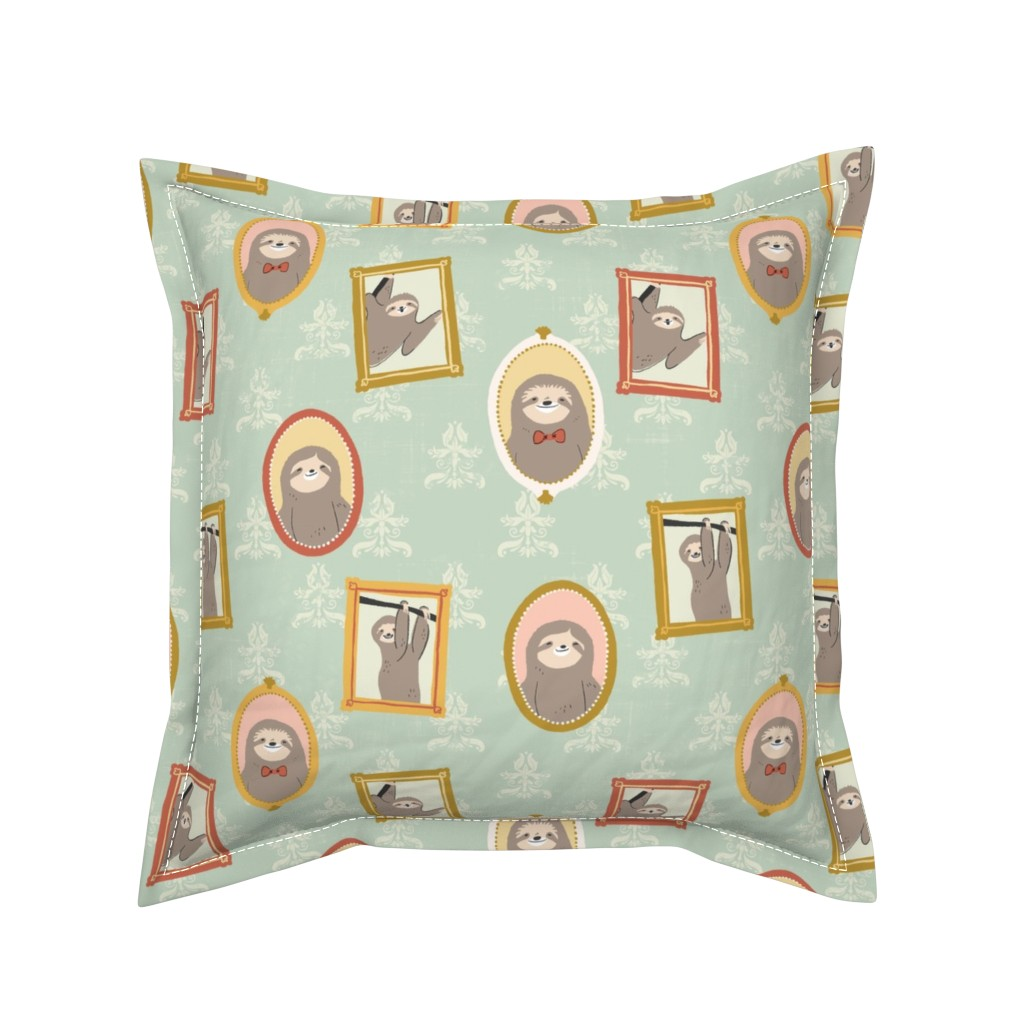 Serama Throw Pillow featuring Sloth Family Portraits by arthousewife