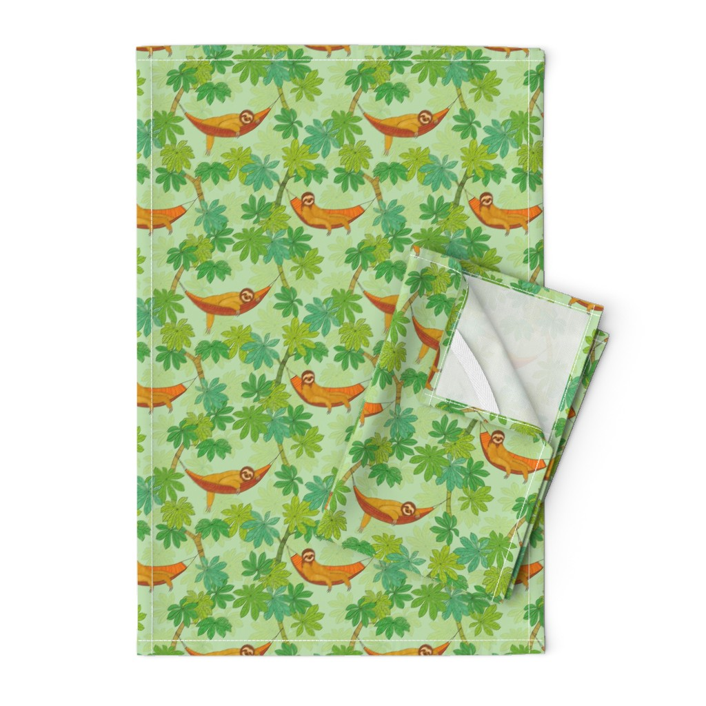 Orpington Tea Towels featuring Relaxing Sloths by nadyabasos