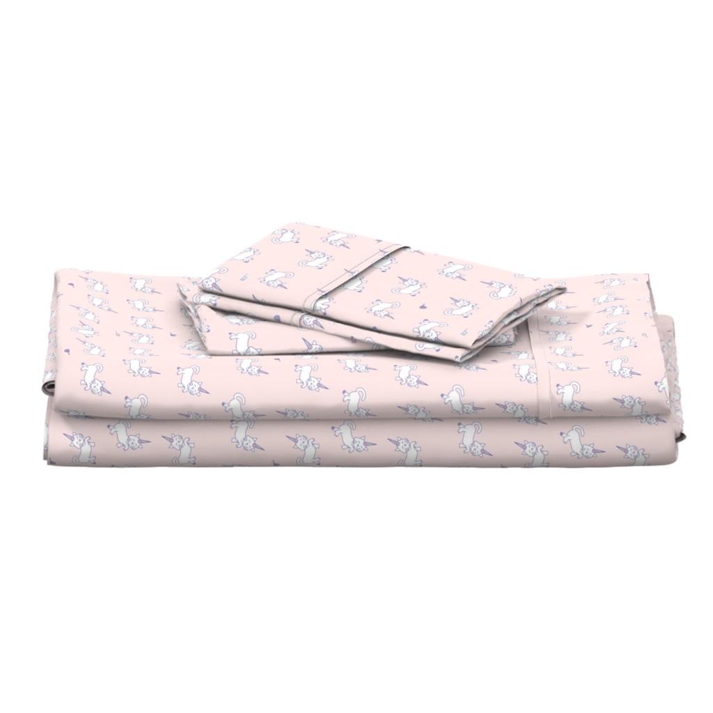 Langshan Full Bed Set featuring Purrnicorn Cat Unicorns on Pink by denisecolgan