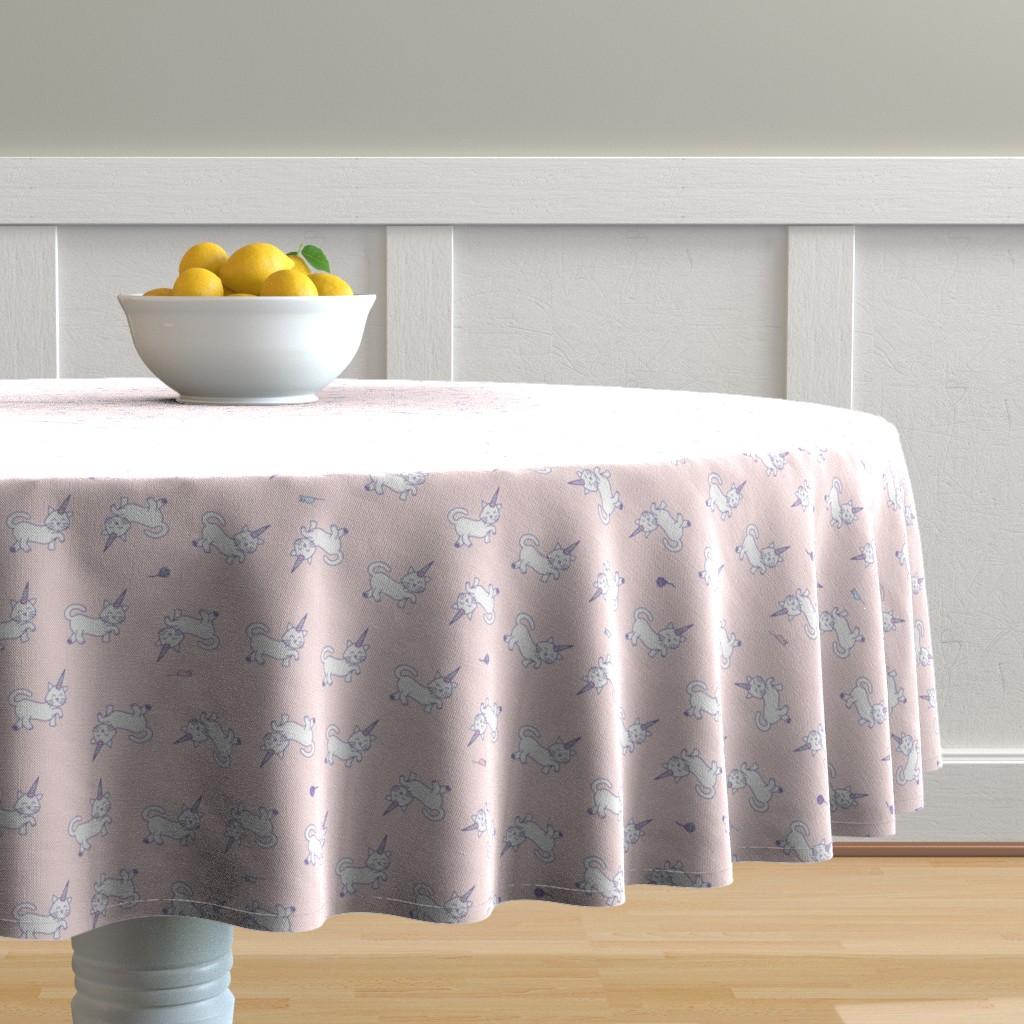 Malay Round Tablecloth featuring Purrnicorn Cat Unicorns on Pink by denisecolgan