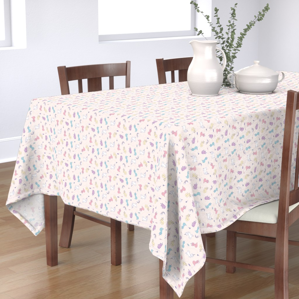 Bantam Rectangular Tablecloth featuring Unicorn Cats by denisecolgan