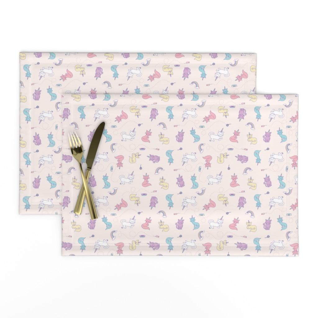 Lamona Cloth Placemats featuring Unicorn Cats by denisecolgan