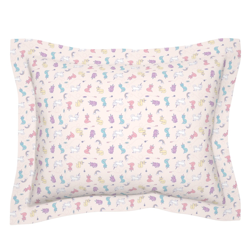 Sebright Pillow Sham featuring Unicorn Cats by denisecolgan