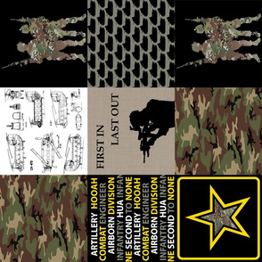 """6"""" Military Green & Yellow Quilt Rotated"""