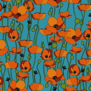 Orange poppy repeat turquoise - medium