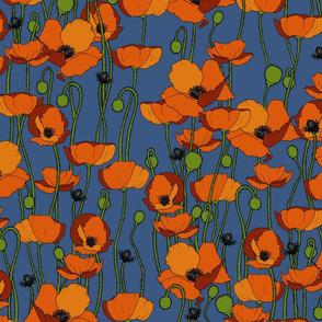 Orange poppy repeat blue - medium