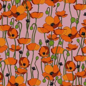 Orange poppy repeat soft pink - medium