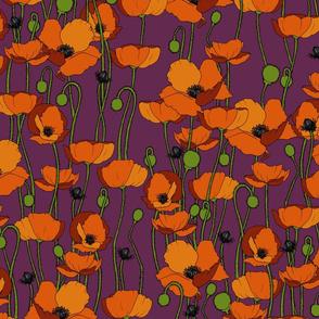 Orange poppy repeat dark magenta - medium