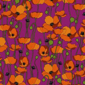 Orange poppy repeat magenta - medium