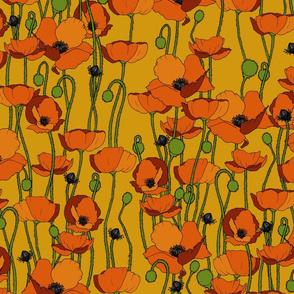 Orange poppy repeat mustard - medium