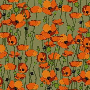 Orange poppy repeat moss - medium