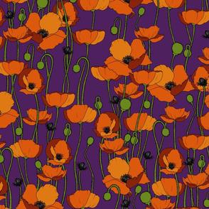 Orange poppy repeat purple - medium