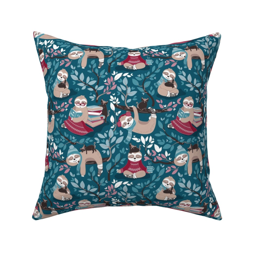 Catalan Throw Pillow featuring  Hygge sloth // small scale // turquoise and red by selmacardoso
