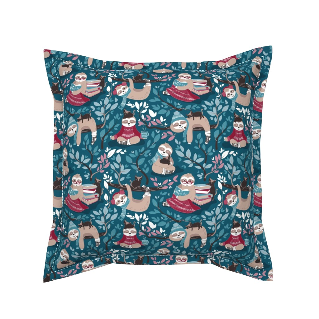 Serama Throw Pillow featuring  Hygge sloth // small scale // turquoise and red by selmacardoso