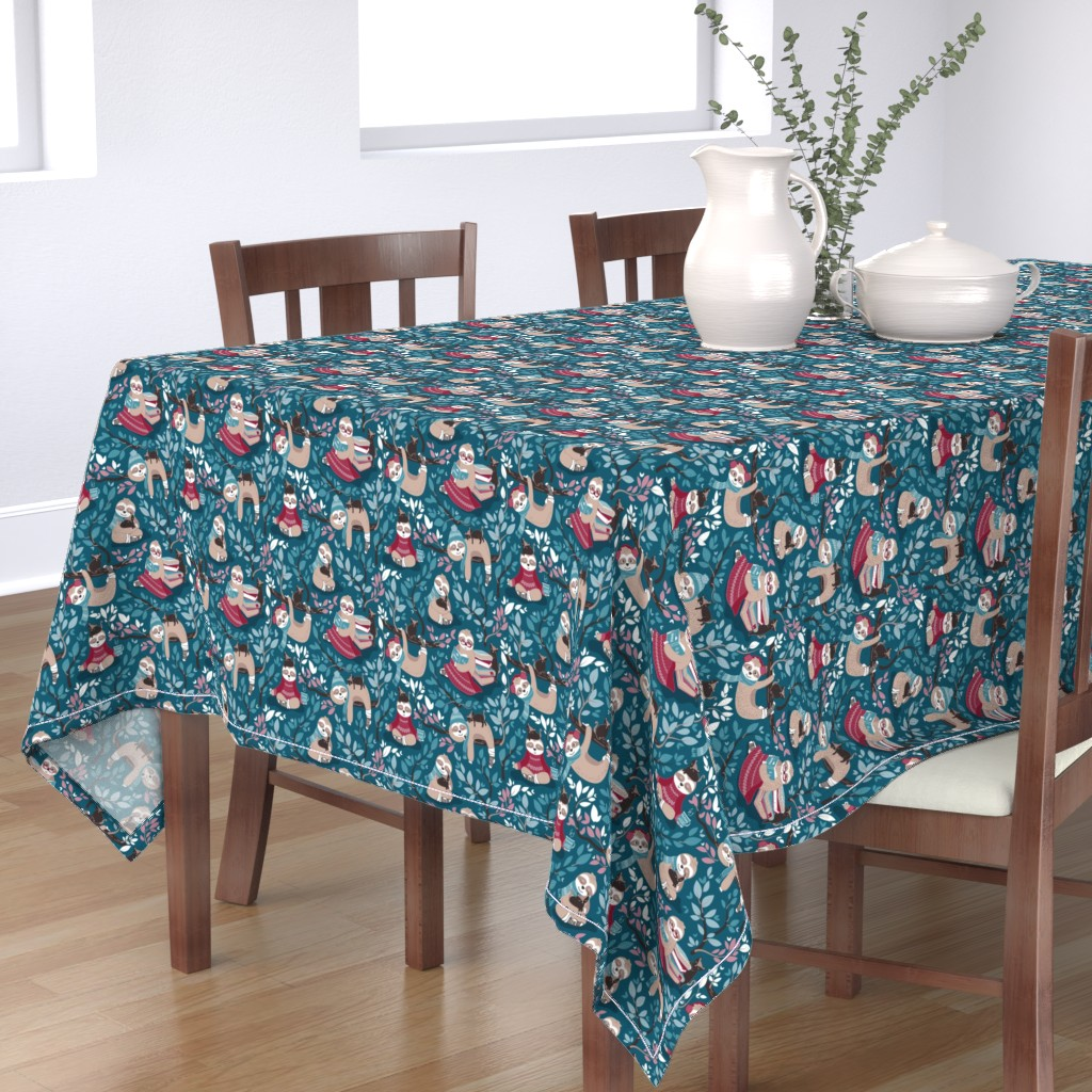Bantam Rectangular Tablecloth featuring  Hygge sloth // small scale // turquoise and red by selmacardoso