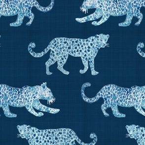 Leopard Parade Blue on Blue