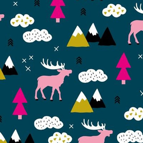 Winter wonderland reindeer adventure clouds and mountains moose design night girls