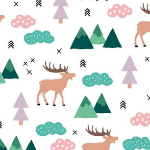 Little camping trip moose mountains and pine tree forest deer design girls