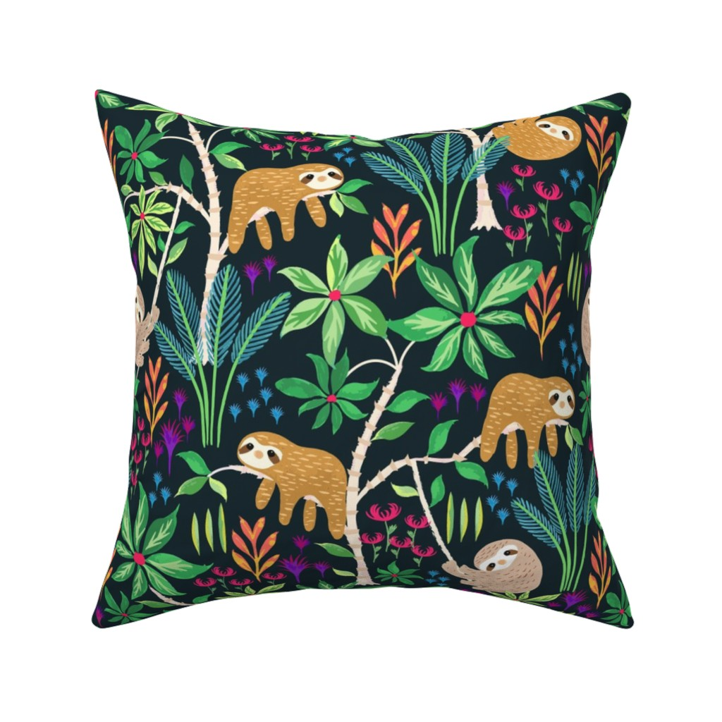 Catalan Throw Pillow featuring Hand Painted Sloth Forest by jill_o_connor