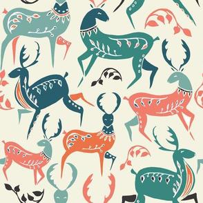 folk art dancing reindeer - large scale