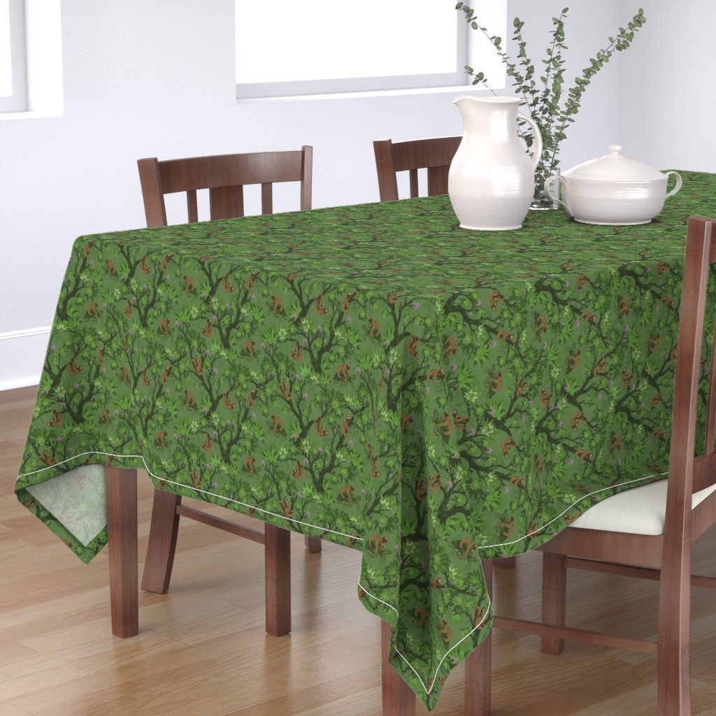 Bantam Rectangular Tablecloth featuring Sloth Forest and Friends by dilatorysloth