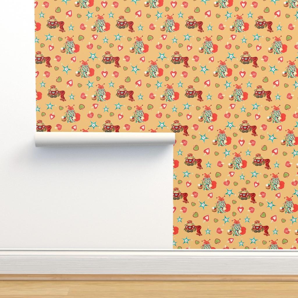 Isobar Durable Wallpaper featuring Cute winter Hedgehog and Squarell by nina_savinova