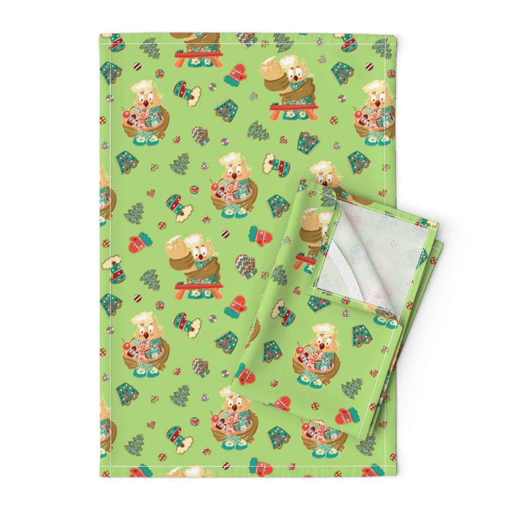 Orpington Tea Towels featuring Lady Owl baking cookies by nina_savinova