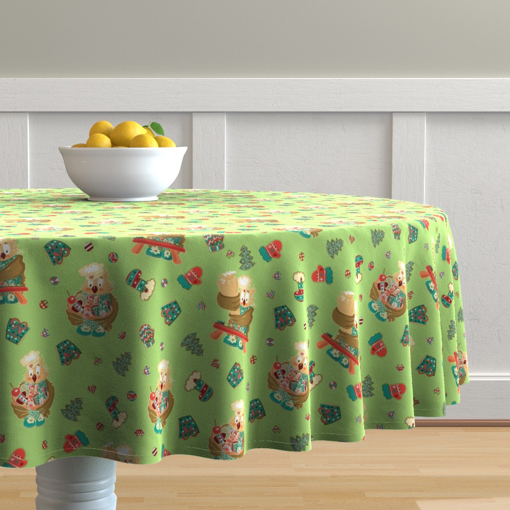 Malay Round Tablecloth featuring Lady Owl baking cookies by nina_savinova