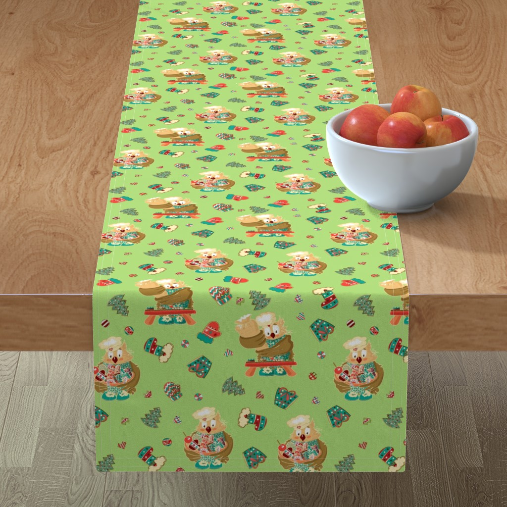 Minorca Table Runner featuring Lady Owl baking cookies by nina_savinova