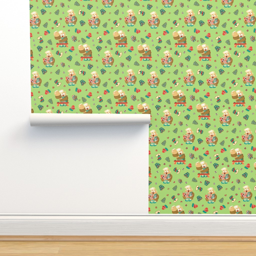 Isobar Durable Wallpaper featuring Lady Owl baking cookies by nina_savinova