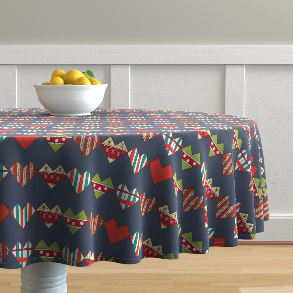 Malay Round Tablecloth featuring Hand made hearts by nina_savinova